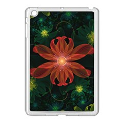 Beautiful Red Passion Flower In A Fractal Jungle Apple Ipad Mini Case (white) by jayaprime