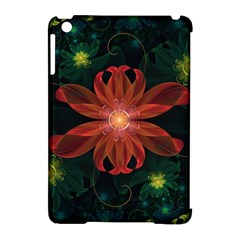 Beautiful Red Passion Flower In A Fractal Jungle Apple Ipad Mini Hardshell Case (compatible With Smart Cover) by beautifulfractals