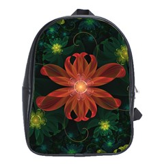 Beautiful Red Passion Flower In A Fractal Jungle School Bags (xl)  by beautifulfractals