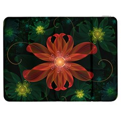 Beautiful Red Passion Flower In A Fractal Jungle Samsung Galaxy Tab 7  P1000 Flip Case by jayaprime