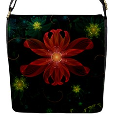 Beautiful Red Passion Flower In A Fractal Jungle Flap Messenger Bag (s) by beautifulfractals