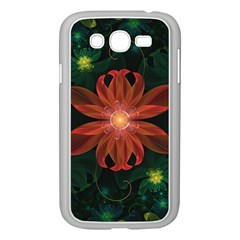 Beautiful Red Passion Flower In A Fractal Jungle Samsung Galaxy Grand Duos I9082 Case (white) by jayaprime