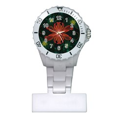 Beautiful Red Passion Flower In A Fractal Jungle Plastic Nurses Watch by jayaprime