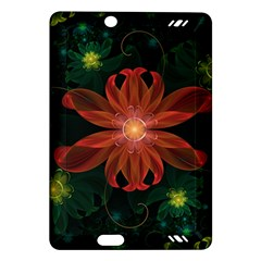 Beautiful Red Passion Flower In A Fractal Jungle Amazon Kindle Fire Hd (2013) Hardshell Case by jayaprime