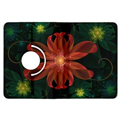 Beautiful Red Passion Flower In A Fractal Jungle Kindle Fire Hdx Flip 360 Case by jayaprime