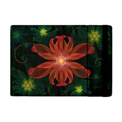 Beautiful Red Passion Flower In A Fractal Jungle Ipad Mini 2 Flip Cases by jayaprime