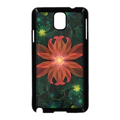 Beautiful Red Passion Flower In A Fractal Jungle Samsung Galaxy Note 3 Neo Hardshell Case (black) by jayaprime