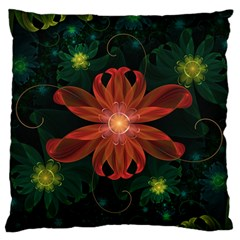 Beautiful Red Passion Flower In A Fractal Jungle Large Flano Cushion Case (one Side) by jayaprime