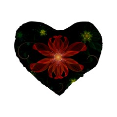 Beautiful Red Passion Flower In A Fractal Jungle Standard 16  Premium Flano Heart Shape Cushions by jayaprime