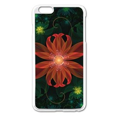 Beautiful Red Passion Flower In A Fractal Jungle Apple Iphone 6 Plus/6s Plus Enamel White Case by jayaprime