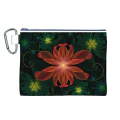 Beautiful Red Passion Flower In A Fractal Jungle Canvas Cosmetic Bag (l) by beautifulfractals