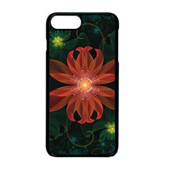 Beautiful Red Passion Flower In A Fractal Jungle Apple Iphone 7 Plus Seamless Case (black) by jayaprime