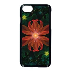 Beautiful Red Passion Flower In A Fractal Jungle Apple Iphone 7 Seamless Case (black) by jayaprime