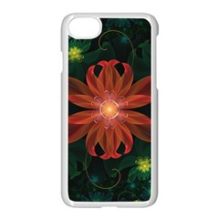 Beautiful Red Passion Flower In A Fractal Jungle Apple Iphone 7 Seamless Case (white) by jayaprime