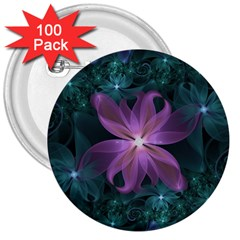 Pink And Turquoise Wedding Cremon Fractal Flowers 3  Buttons (100 Pack)  by jayaprime