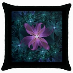 Pink And Turquoise Wedding Cremon Fractal Flowers Throw Pillow Case (black) by beautifulfractals