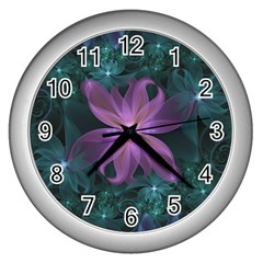 Pink And Turquoise Wedding Cremon Fractal Flowers Wall Clocks (silver)  by beautifulfractals