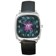 Pink And Turquoise Wedding Cremon Fractal Flowers Square Metal Watch by beautifulfractals