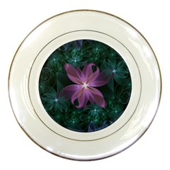 Pink And Turquoise Wedding Cremon Fractal Flowers Porcelain Plates by beautifulfractals