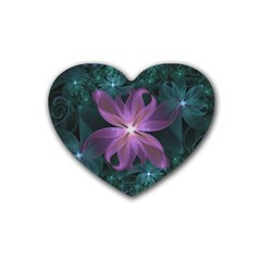 Pink And Turquoise Wedding Cremon Fractal Flowers Heart Coaster (4 Pack)  by jayaprime