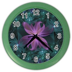 Pink And Turquoise Wedding Cremon Fractal Flowers Color Wall Clocks by beautifulfractals