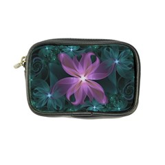 Pink And Turquoise Wedding Cremon Fractal Flowers Coin Purse by jayaprime