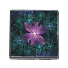Pink And Turquoise Wedding Cremon Fractal Flowers Memory Card Reader (square) by jayaprime