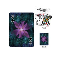 Pink And Turquoise Wedding Cremon Fractal Flowers Playing Cards 54 (mini)  by jayaprime