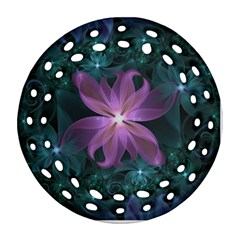 Pink And Turquoise Wedding Cremon Fractal Flowers Ornament (round Filigree) by beautifulfractals