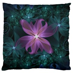 Pink And Turquoise Wedding Cremon Fractal Flowers Large Cushion Case (one Side) by beautifulfractals