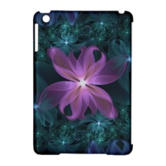 Pink And Turquoise Wedding Cremon Fractal Flowers Apple Ipad Mini Hardshell Case (compatible With Smart Cover) by jayaprime