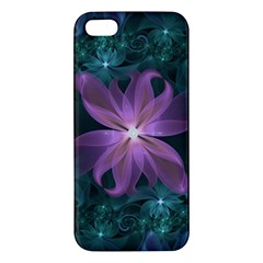 Pink And Turquoise Wedding Cremon Fractal Flowers Apple Iphone 5 Premium Hardshell Case by jayaprime