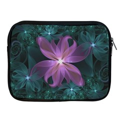 Pink And Turquoise Wedding Cremon Fractal Flowers Apple Ipad 2/3/4 Zipper Cases by jayaprime