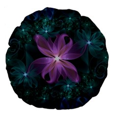 Pink And Turquoise Wedding Cremon Fractal Flowers Large 18  Premium Flano Round Cushions by beautifulfractals