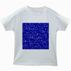 Glossy Abstract Blue Kids White T Shirts by MoreColorsinLife