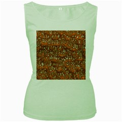 Glossy Abstract Orange Women s Green Tank Top
