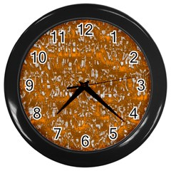 Glossy Abstract Orange Wall Clocks (black) by MoreColorsinLife