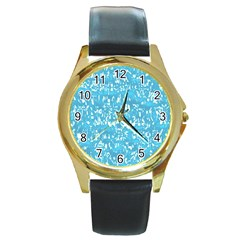 Glossy Abstract Ocean Round Gold Metal Watch by MoreColorsinLife