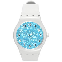 Glossy Abstract Ocean Round Plastic Sport Watch (m) by MoreColorsinLife