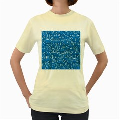 Glossy Abstract Teal Women s Yellow T Shirt by MoreColorsinLife