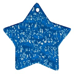 Glossy Abstract Teal Star Ornament (two Sides) by MoreColorsinLife