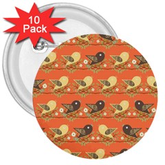 Birds Pattern 3  Buttons (10 Pack)  by linceazul