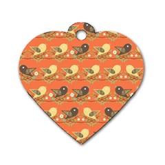 Birds Pattern Dog Tag Heart (two Sides) by linceazul