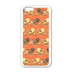 Birds Pattern Apple Iphone 6/6s White Enamel Case by linceazul