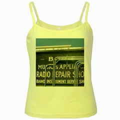 Boise Music And Appliance Radio Repair Painted Sign Yellow Spaghetti Tank by TailWags