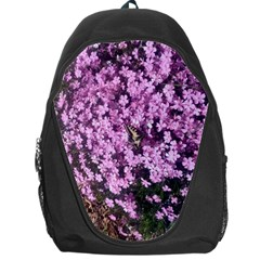 Butterfly On Purple Flowers Backpack Bag by TailWags
