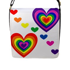 Pride Hearts Bg Flap Messenger Bag (l)  by TailWags