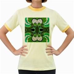 Fractal Art Green Pattern Design Women s Fitted Ringer T Shirts