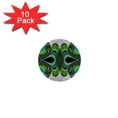 Fractal Art Green Pattern Design 1  Mini Buttons (10 Pack)