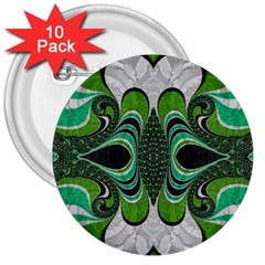 Fractal Art Green Pattern Design 3  Buttons (10 Pack)  by BangZart
